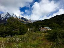 House in Torres Del Paine National Park. Quiet place among Patagonian winds Royalty Free Stock Images