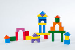 House toy blocks isolated white background, little wooden home Royalty Free Stock Photography
