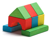 House toy blocks isolated white background, wooden home Stock Image