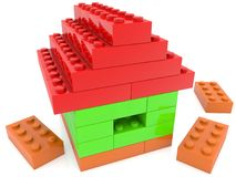 House of toy bricks. In backgrounds Stock Photo