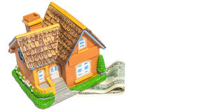 House toy on money bank notes Stock Photography