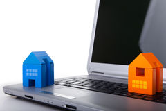 House toy over a laptop Royalty Free Stock Photo