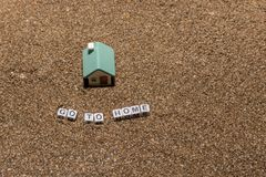 House. Toy house on the sea, beach, sand, concept, home, estate, family, summer, construction, nature, real, property, miniature, architecture, vacation stock photography