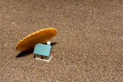House. Toy house on the sea, beach, sand, concept, home, estate, family, summer, construction, nature, real, property, miniature, architecture, vacation stock photo