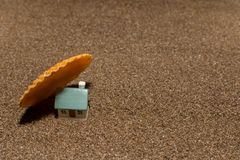 House. Toy house on the sea, beach, sand, concept, home, estate, family, summer, construction, nature, real, property, miniature, architecture, vacation royalty free stock photos