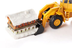 House and tractor isolated Royalty Free Stock Photo