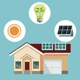 House traditional residence with solar panel-icons ecology Stock Photo
