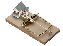 House Trap. Model of a house shot in mouse trap Stock Image