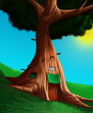 The house in a tree. House in a big and old tree Royalty Free Stock Photography