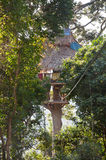 House on the Tree. A very famous place for tourists in Laotian jungle who admire extreme activities and take the Gibbon Experience tour near Houayxay, Bokeo stock image