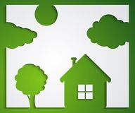 House, tree, cloud stickers. Nature protection concept with abstract house and green tree Stock Photos
