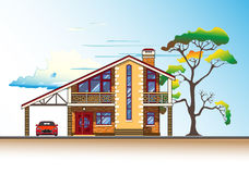 House, tree and clouds vector graphics. House or cottage, tree, a carport and a car. Color graphics vector Royalty Free Stock Images