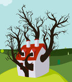 House Tree Grown Inside. Tree House Grown inside an house, Zip includes 300 dpi JPG, Illustrator CS, Illustrator 10, and SVG files, vector layers are layered for Royalty Free Stock Photos
