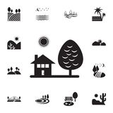 House and tree icon. Detailed set of landscapes icons. Premium graphic design. One of the collection icons for websites, web. Design, mobile app on white royalty free illustration