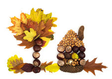 House and tree made of autumn leaves, chestnuts, pine cones and Royalty Free Stock Photos