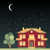 House and tree at night on background of dark sky with stars and moon Stock Photo