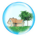 House with tree in sphere Royalty Free Stock Images