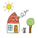 House, Tree, Sun and Cat Royalty Free Stock Images