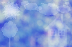 House, tree, sun and sky. House, tree, sun and sky, on bokeh background Stock Images