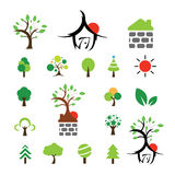 House and tree symbol set Royalty Free Stock Image