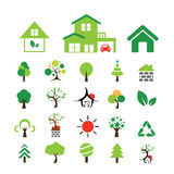 House and tree symbol set Royalty Free Stock Photography
