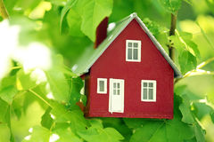 House in the trees. Red house in the trees Royalty Free Stock Photos
