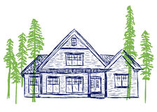 House and trees doodles Stock Photography