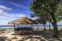 House of trees on the rancabuaya beach Stock Image
