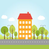 House with trees on a street Royalty Free Stock Images