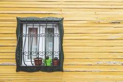 house träfönster Arkivbild
