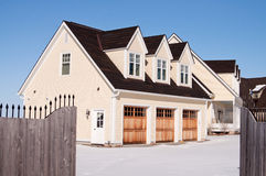 House with a triple garage stock photos