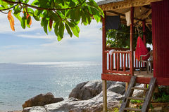 House on tropical beach. Malaysia Royalty Free Stock Images