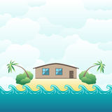 House on tropical island Royalty Free Stock Images