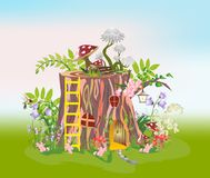 House in the trunk of a tree trunk Royalty Free Stock Photo