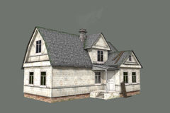 House. A two-storey wooden house on a gray background Stock Photo