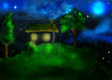 House and two trees on the hill. In the children's drawing style royalty free illustration