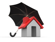 House and Umbrella Royalty Free Stock Photography
