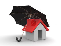 House and Umbrella Stock Photos
