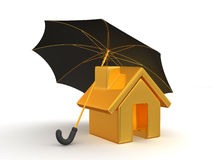 House and Umbrella Stock Photo
