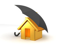 House and Umbrella Stock Photography