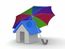 House and Umbrella Royalty Free Stock Image
