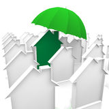 House and umbrella. House in green and an umbrella Stock Image
