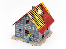 House under construction. 3d illustration of modern house under construction with worker in foreground; isolated on white Stock Images