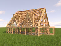 House under construction. On green grass Royalty Free Stock Photography