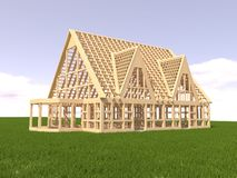 House under construction. On green grass Stock Images