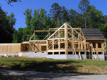 House under construction. Framing aspect of construction on a new house. No raw file available stock photography
