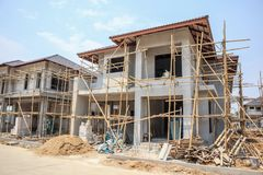 House under construction with autoclaved aerated concrete block. Structure at building site stock images