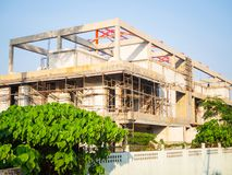 House under construction with autoclaved aerated concrete block structure and scaffolding at building site in summer. Construction of modern building made of stock photography