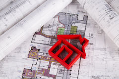 House under construction, blueprints concept Royalty Free Stock Photography