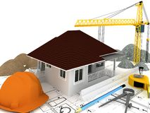 House under construction  ,3d render. House under construction  with a crane and other building fixtures on top of blue print,3d render Royalty Free Stock Images